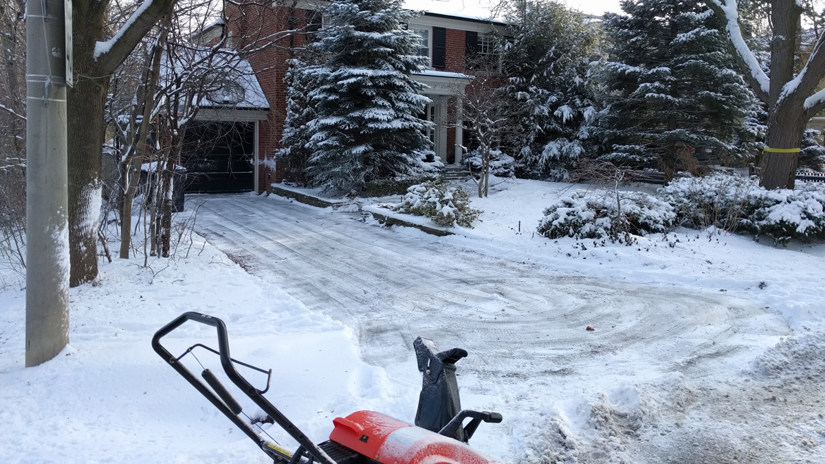 Snow shoveling and snow removal at a client house in Chaplin Estates