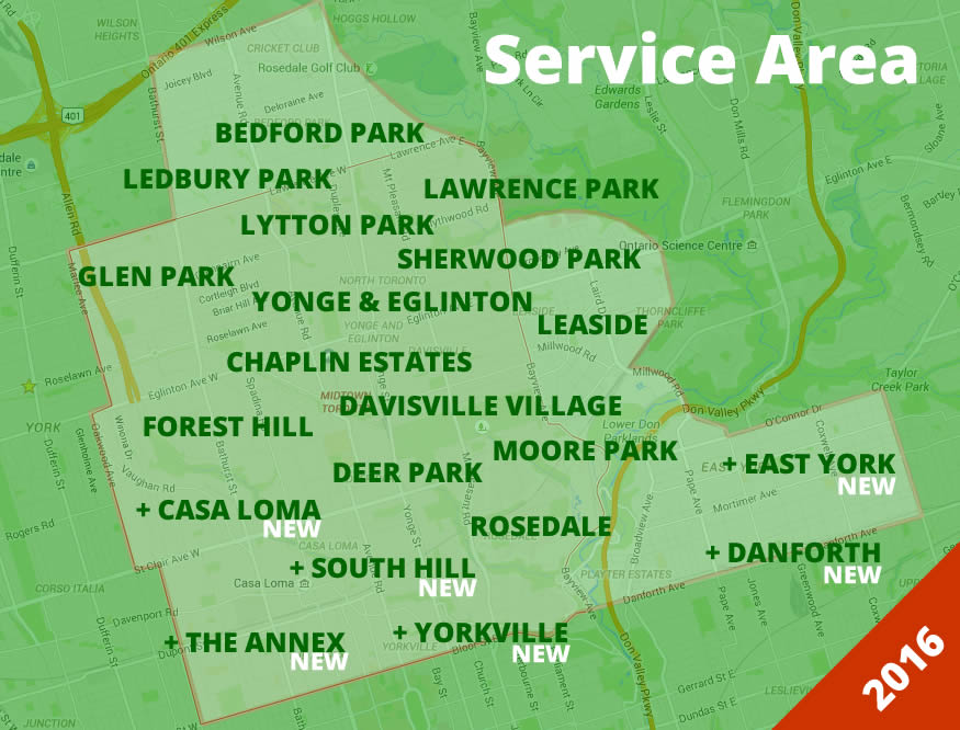 Gardenzilla service area include Midtown Toronto - The Annex, Cabbagetown, The Danforth, East York, Leaside, Rosedale, South Hill / Casa Loma, Summerhill, and Yorkville. North Toronto - Bedford Park, Caribou Park, Chaplin Estates, Davisville Village, Deer Park, Forest Hill, Lawrence Park, Ledbury Park, Lytton Park, Moore Park, and Yonge & Eglinton.