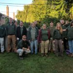 Our small team, excited to help create a beautiful spring bulb flower display with a late fall planting of annual flowering bulbs