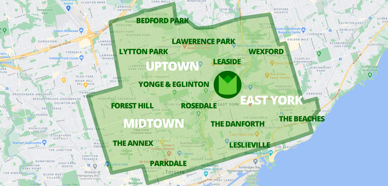 Gardenzilla Service Area 2021 - Includes Uptown, Midtown & East York - Bedford park, Lytton Park, Lawrence Park, Wexford, Leaside, Yonge & Eglinton, Rosedale, Forest Hill, The Annex, Parkdale, Rosedale, The Danforth, Leslieville, The Beaches