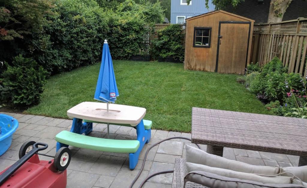 Lovely backyard, sod installation by Gardenzilla
