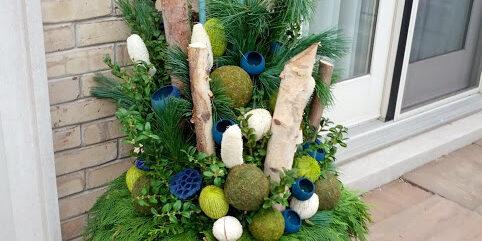 A winter planter featuring birch by Deborah Vivas of Gardenzilla
