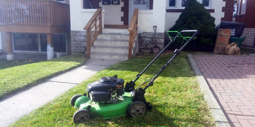 Weekly lawn mowing just north of the Annex